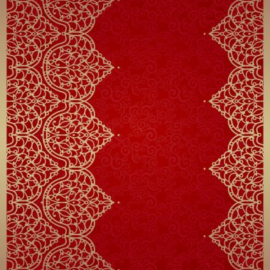 Vector seamless border in Eastern style. Ornate element for design and place for text. Ornamental lace pattern for wedding invitations and greeting cards. Traditional golden decor on red background. clip art vector
