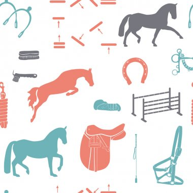 Beautiful seamless vintage colored pattern with horse equipment