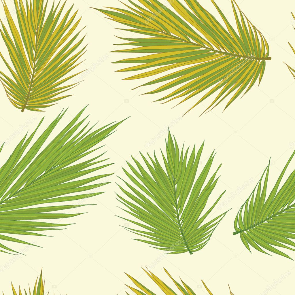 Realistic palm tree leaves seamless background. Floral texture.