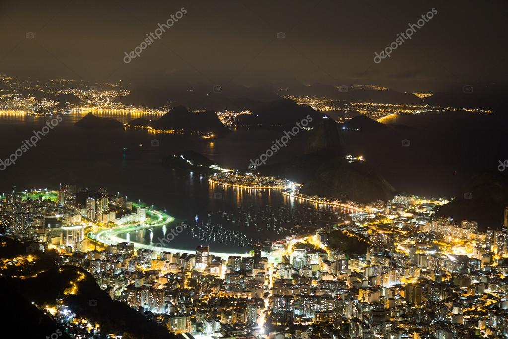 Night view of Sugarloaf in Rio de Janeiro Brazil