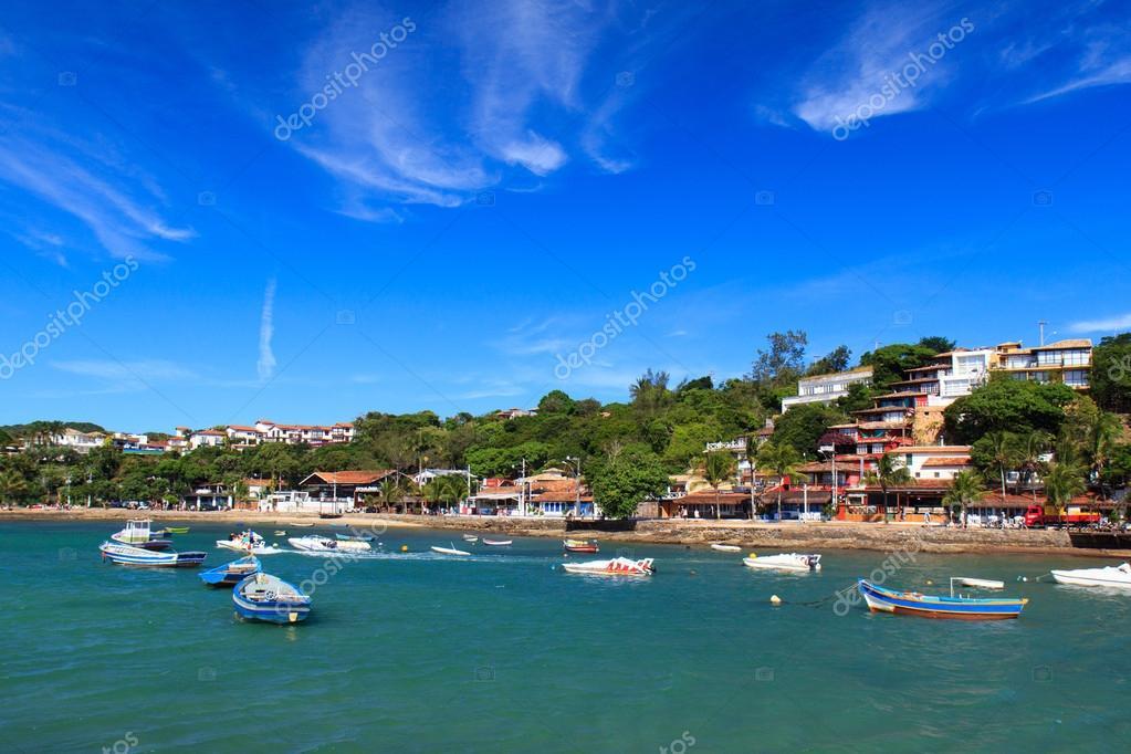 Boats near seafront of beach Buzios, Brazil