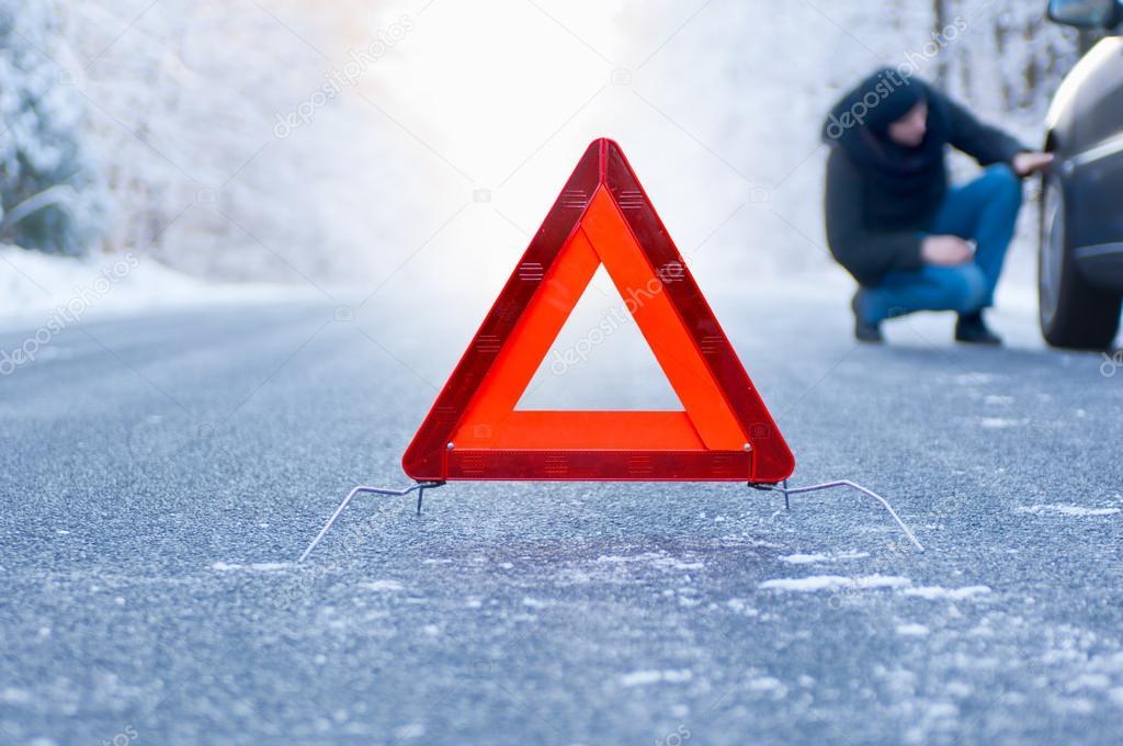 Winter driving car breakdown