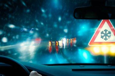 Winter driving - night driving - caution