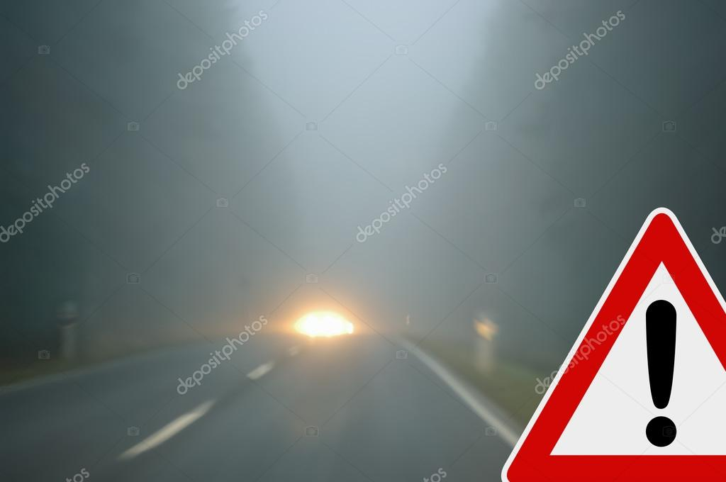 Bad weather driving - country road - caution fog