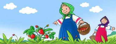 Girls picking berries