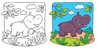 Little hippo coloring book