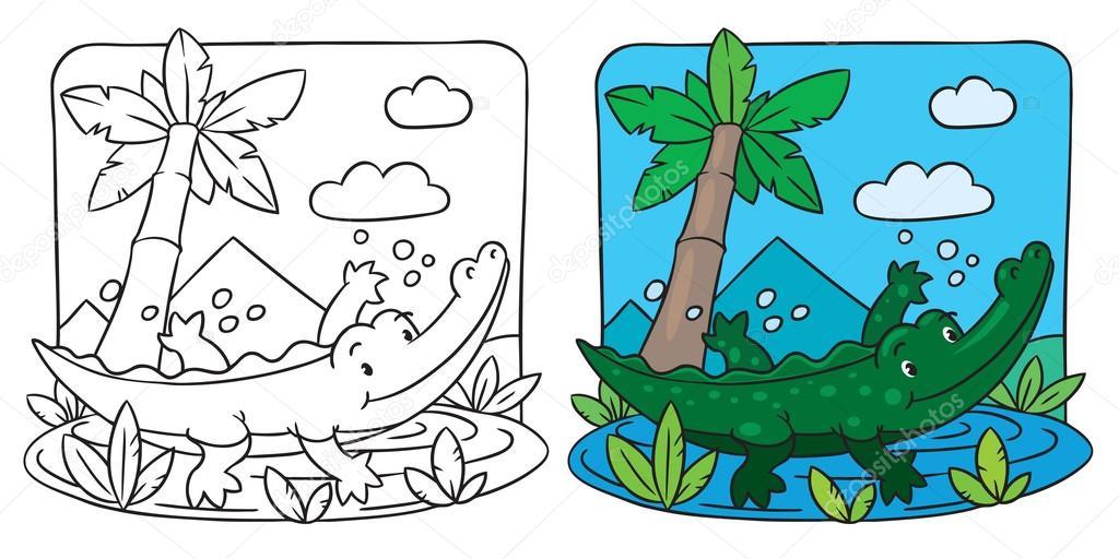 pequeño libro de colorear de cocodrilo — Archivo Imágenes ...
