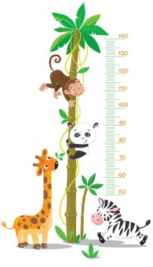 Meterwall (stadiometer) with big high palm tree with monkey, panda, giraffe and zebra. Children vector illustration stock vector