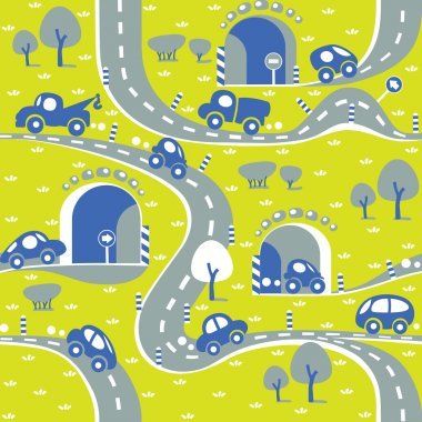 Cars on the road. Seamless pattern.