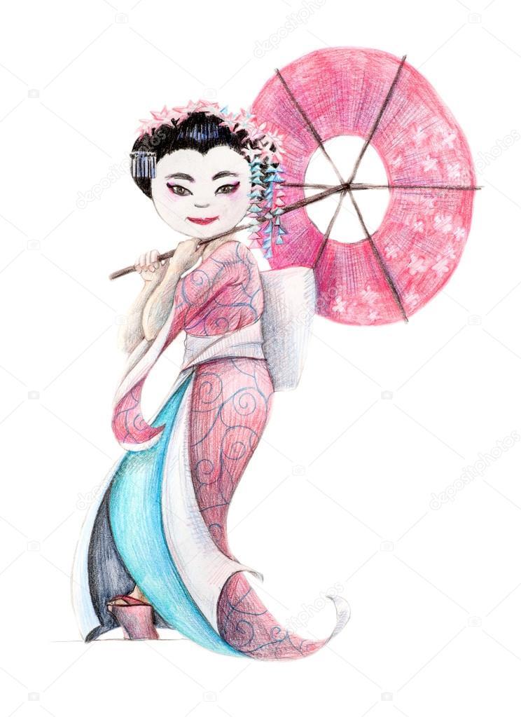 Dibujos Mujeres Japonesas Geisha Mujer Japonesa En La Ropa De