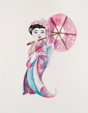 Geisha. The Japanese woman in a national suit with parasol.