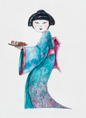 Young woman in Japanese kimono with tray.