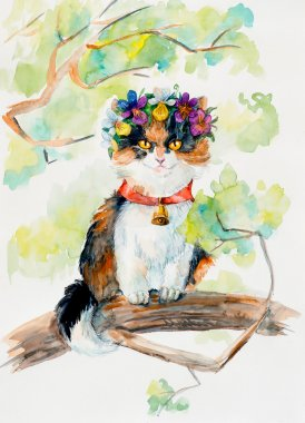 Kitten on the tree. Wreath from violets.