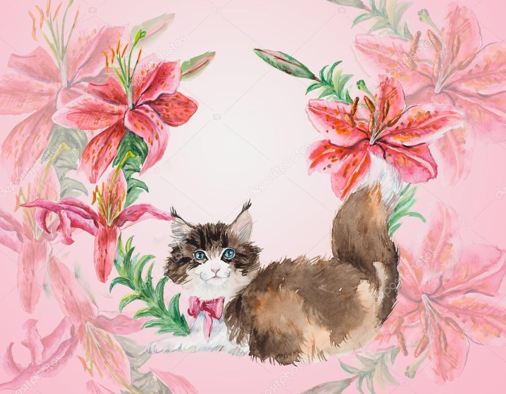 Kitten with lilies. Cat in flower circle. — Stock Photo © budogosh ...