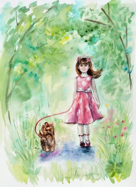 Girl and dog. Yorkshire terrier. Girl walks with a puppy in the wood. Pink bow and pink dress.