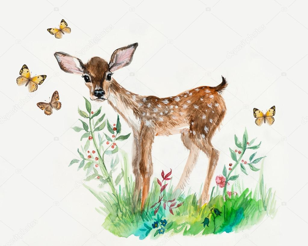 Deer baby with butterflies and flowers.