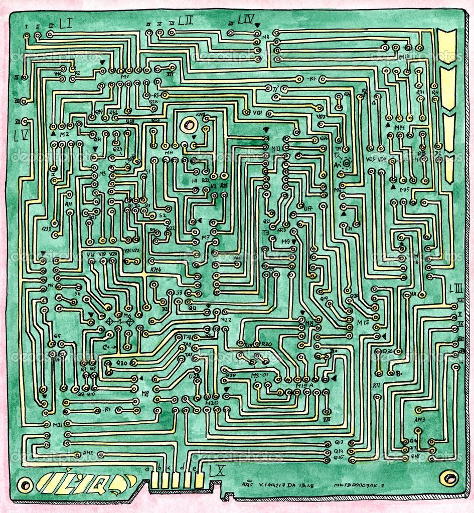PCB wiring scheme — Foto de stock © eugenezando #38018941 on housing scheme, blue scheme, filter scheme,