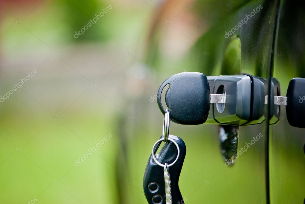 Car keys in a lock