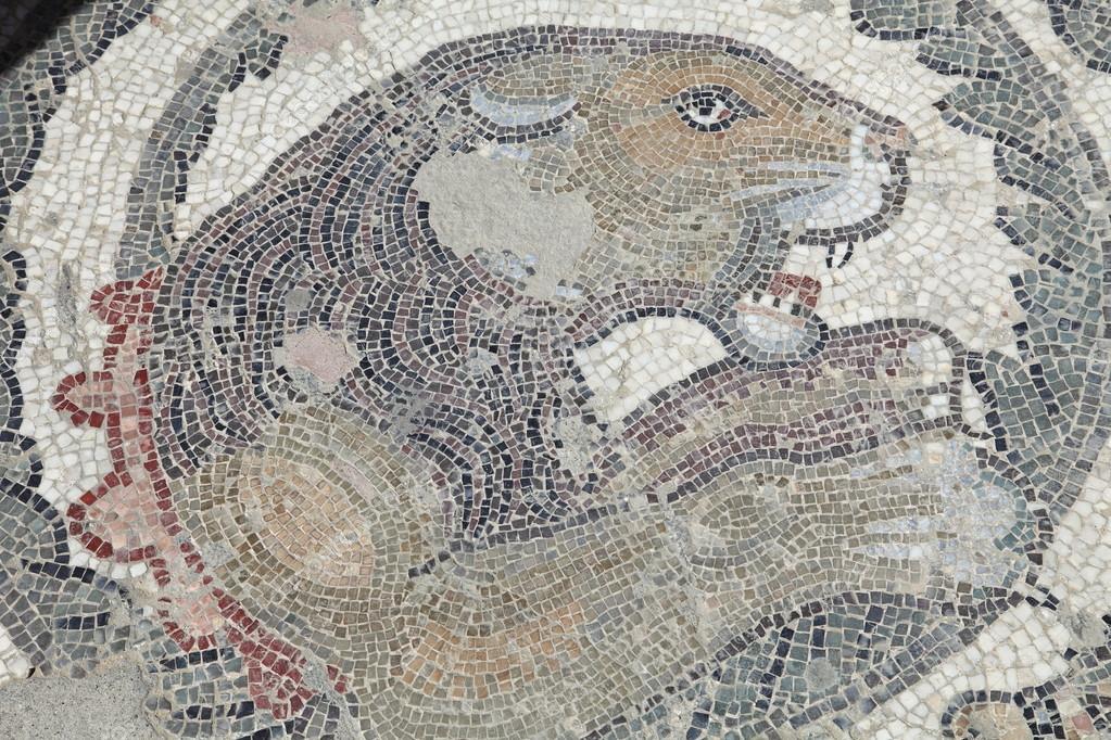 Pavimento a mosaico leone della villa romana del casale for Mosaico pavimento