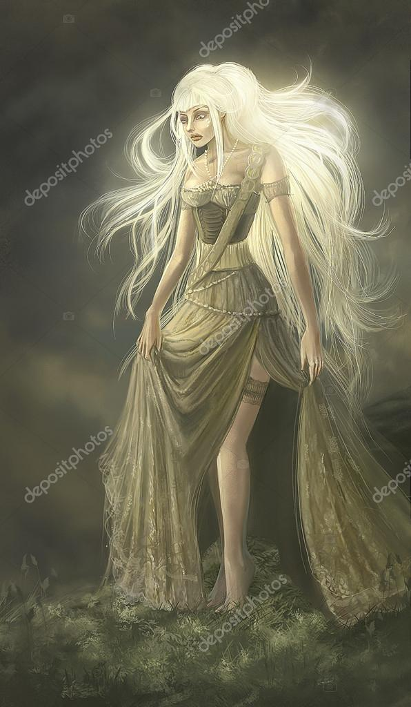 Painted fantasy girl goddess with long white hair — Stock Photo © nelapsiart #38953589