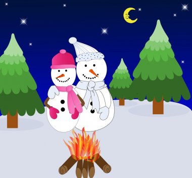 A Snow-Couple in Front of a Campfire