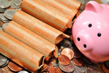 Quarters on Coins with a Pink Piggy Bank