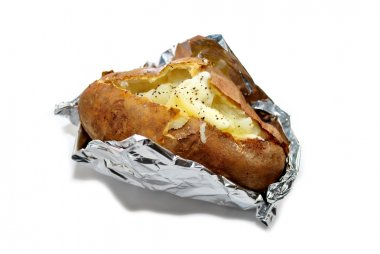 Baked Potato in Foil Isolated Over White