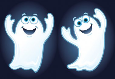 Two Happy Ghosts Floating in the Air