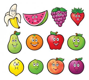 Twelve Cartoon Fruit Characters