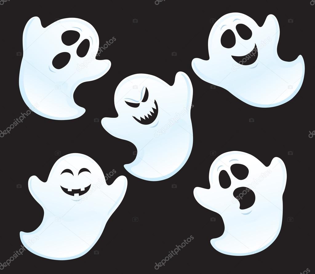 Cinque fantasmi con espressioni diverse u foto stock rodsavely