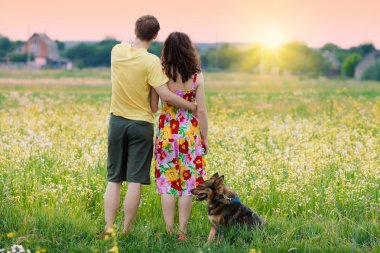Young couple and Dog