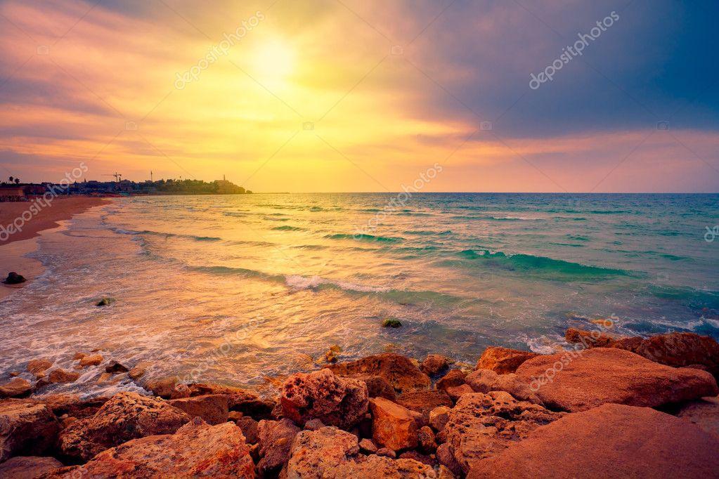 Beautiful sunset over sea in Tel Aviv-Jaffa, Israel
