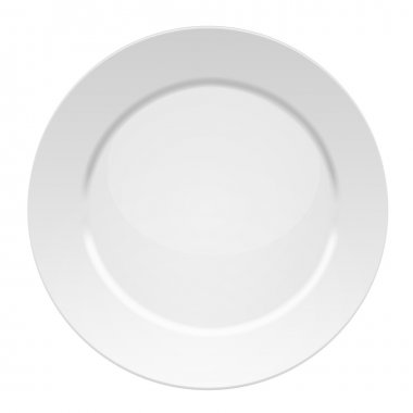 Vector illustration of blank white dinner plate - isolated on white background stock vector