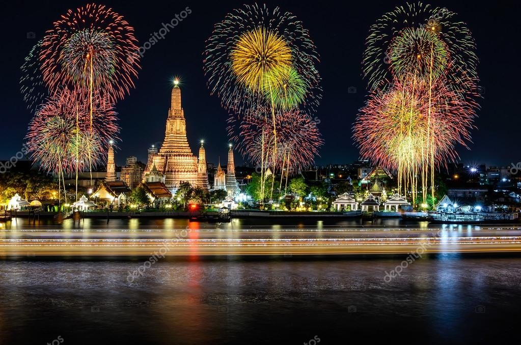 Wat arun under new year celebration time, Thailand