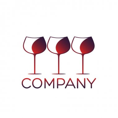 Glass of wine logo design template