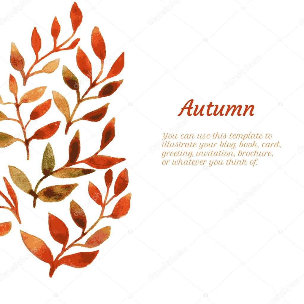 vector autumn watercolor leaf pattern template stock vector