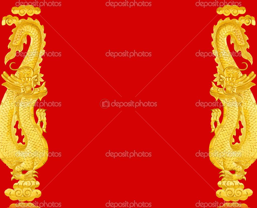 Frame golden Chinese dragon — Stock Photo © gamjai #51320667