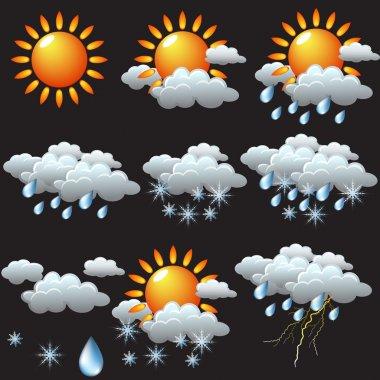 weather icons: sun, rain, snow, storm