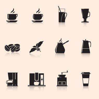 Icons coffee: coffee grinder, mug, coffee grains