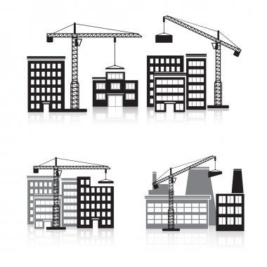 icon construction: crane, house, machine, factory