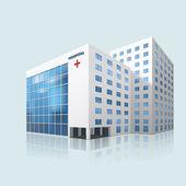 Fotografie městské nemocnice, budova s odrazem
