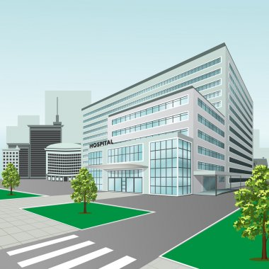 hospital building on city background