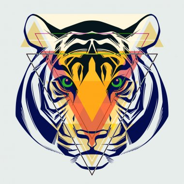 Fashion illustration of tiger head.