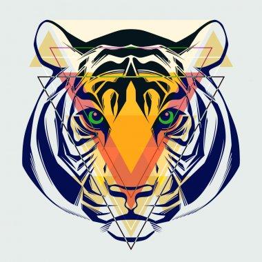 Fashion illustration of tiger head.