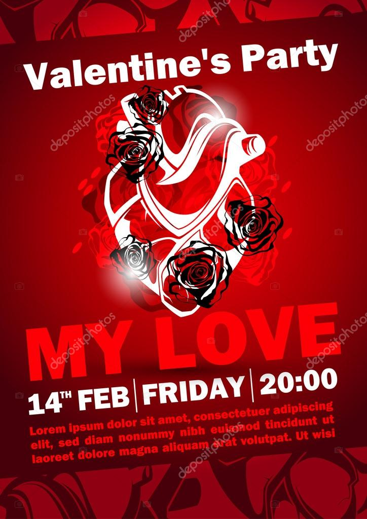 Valentines Day Party Poster Design Stock Vector C Pevunova 43201267