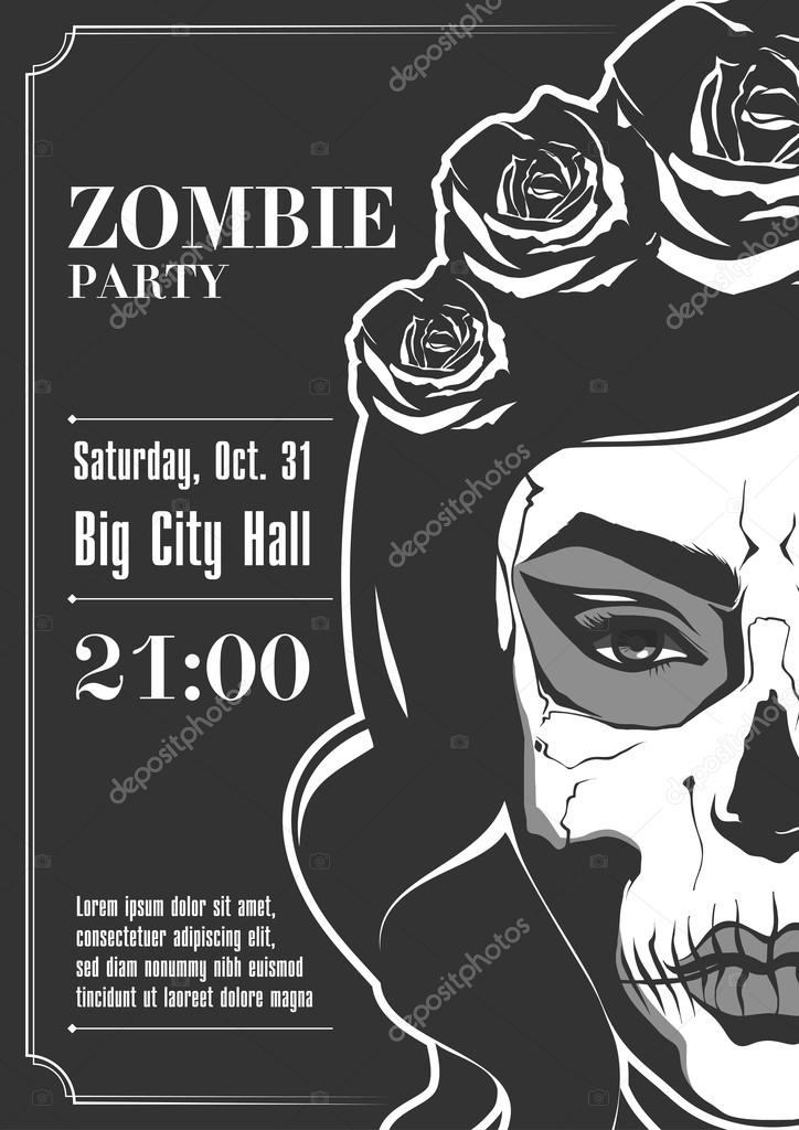 Zombie Party Poster. Vector illustration.