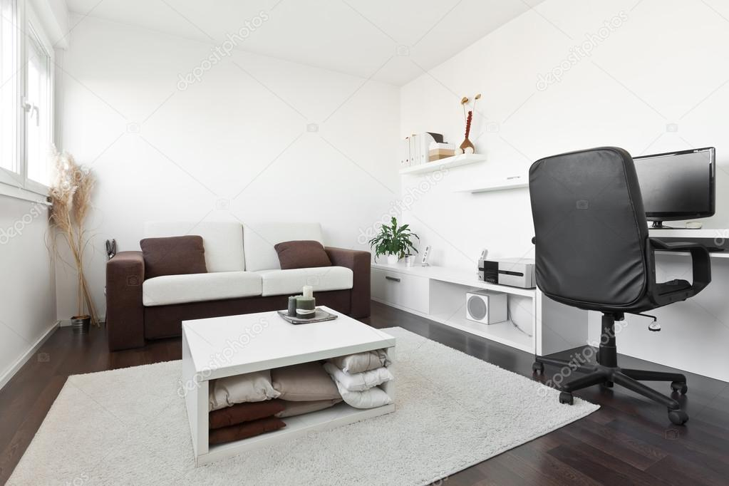 Modern Living Room With Computer Desk And The Screen Sofa Table White Carpet On Dark Brown Wooden Floor Photo By Deymosd