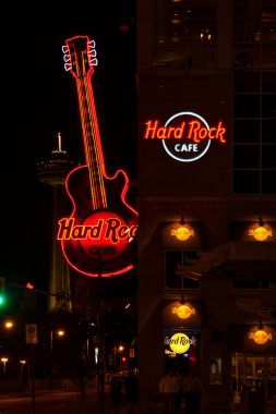 NIAGARA FALLS, CANADA - MAY 5, 2007: Neon sign of famous Hard Rock Cafe Guitar on display.