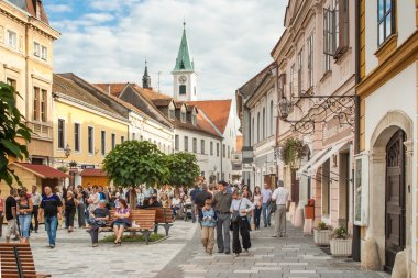 VARAZDIN, CROATIA - SEPTEMBER 2, 2007: People on the streets of