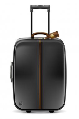 Black suitcase on white background